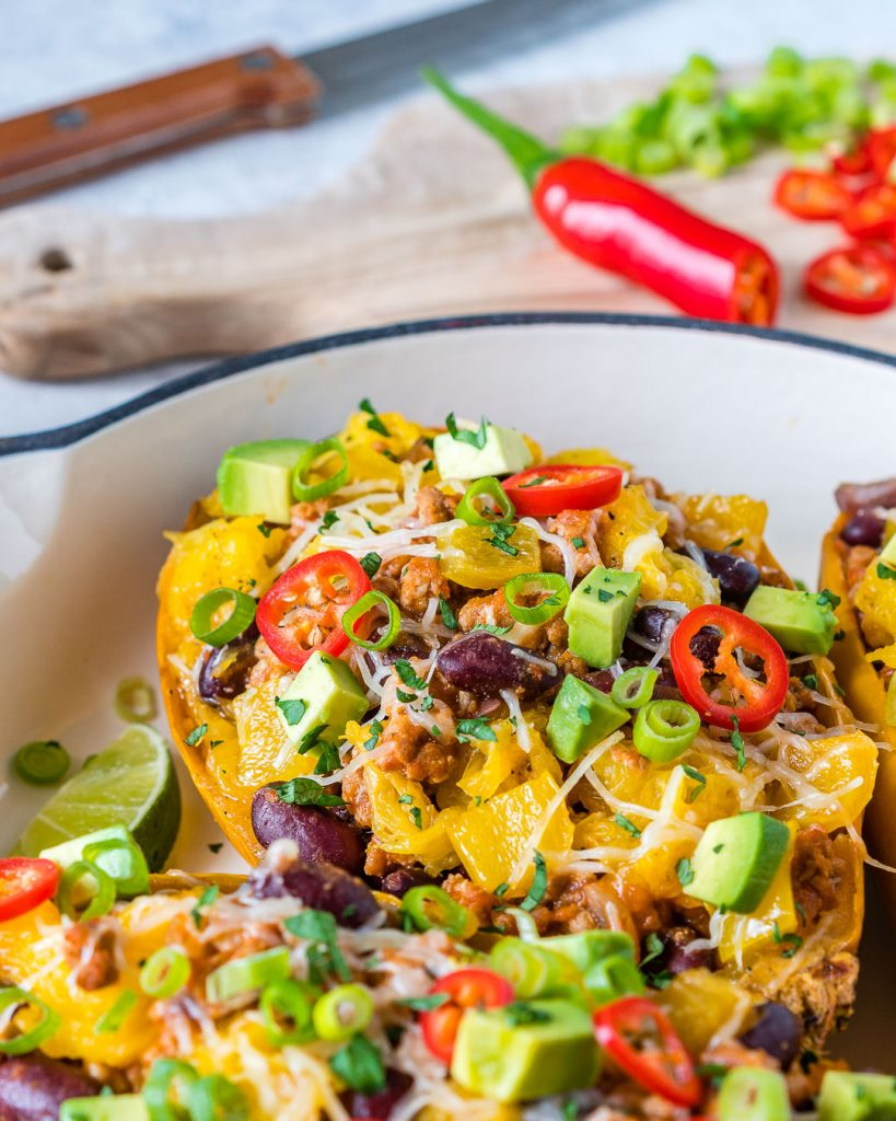Eat Clean Taco Stuffed Spaghetti Squash Recipe