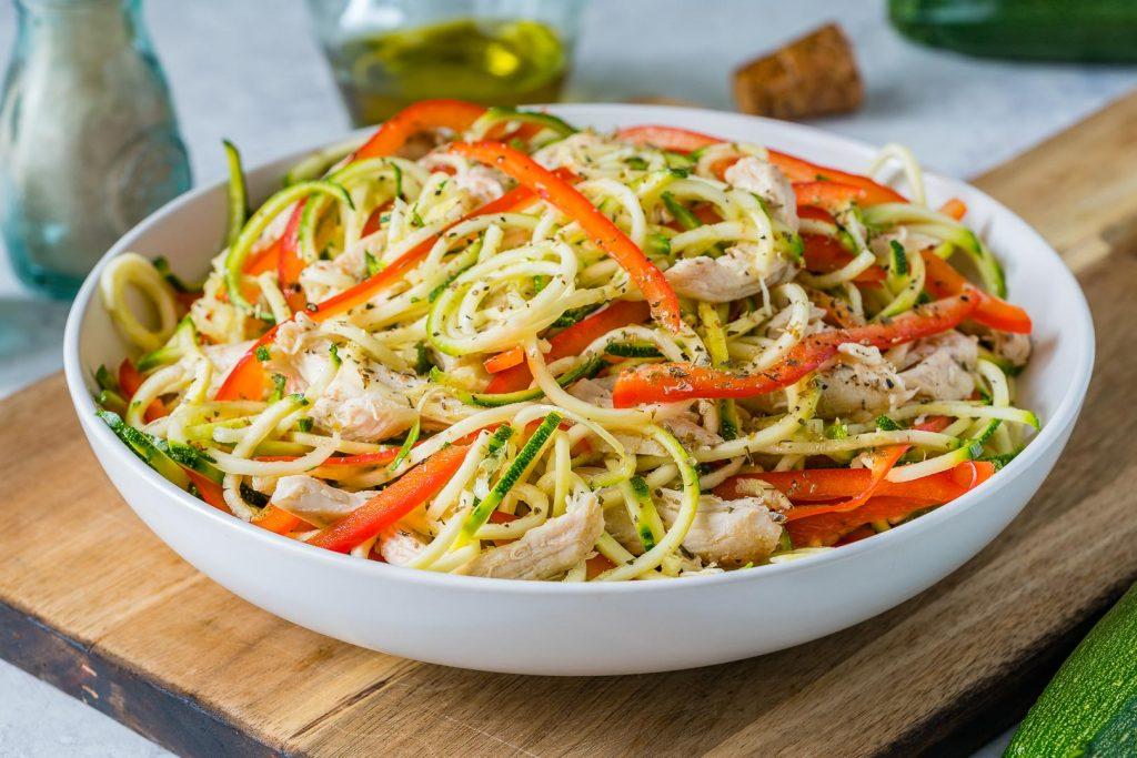 Clean Turkey Zucchini Noodle Salad and Balsamic Vinaigrette