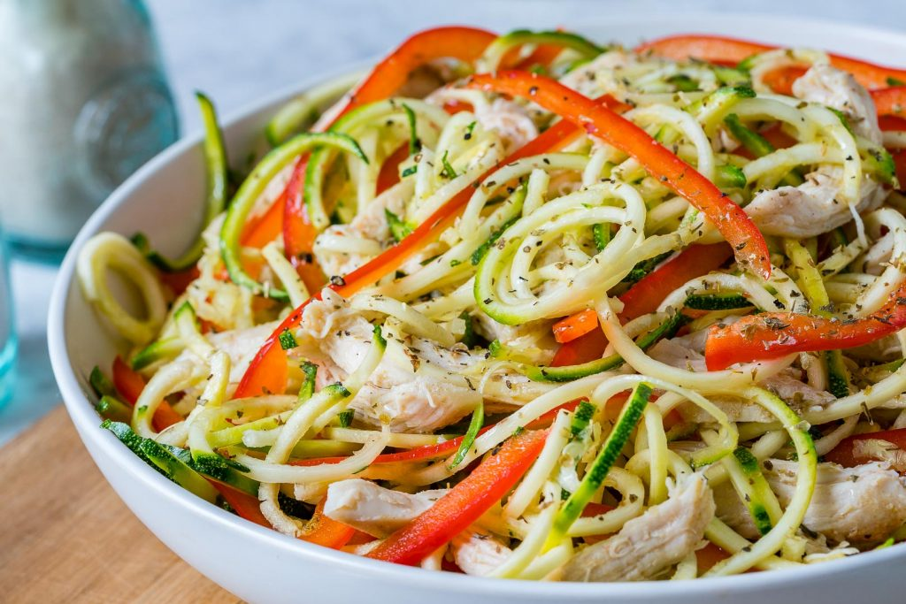 Turkey Zucchini Noodle Salad & Balsamic Vinaigrette Recipe