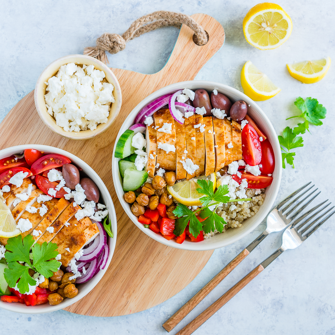 Eat Clean Mediterranean Chicken Power Bowls with Garlic Roasted Chickpeas