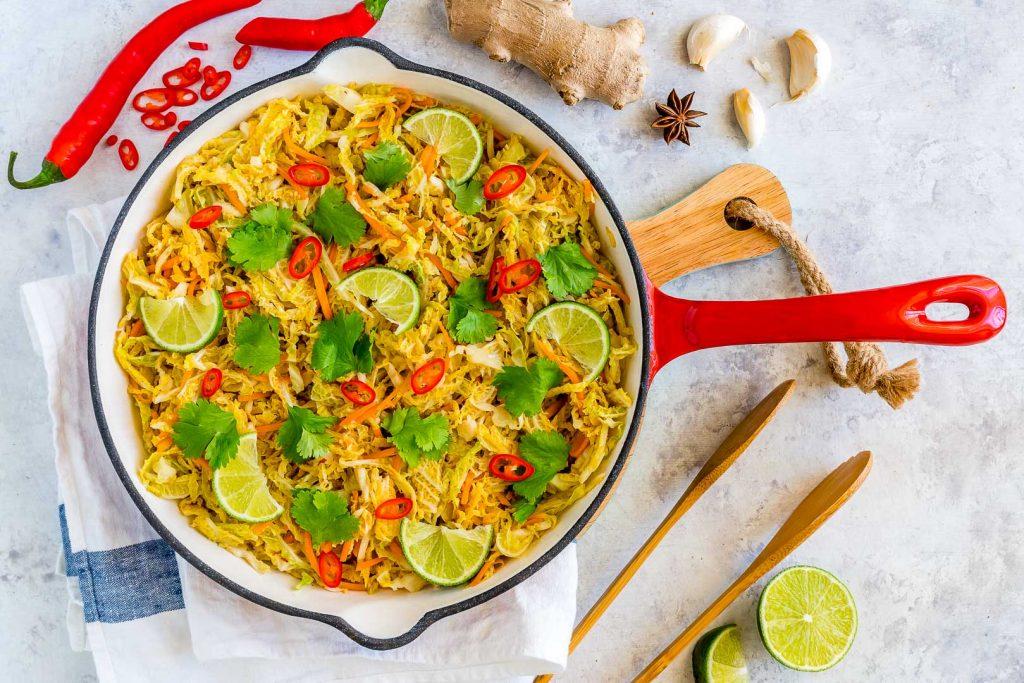 Eat Clean Spicy Stir Fried Cabbage