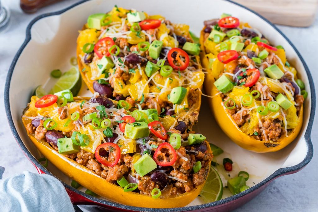 Taco Stuffed Spaghetti Squash Dinner Idea