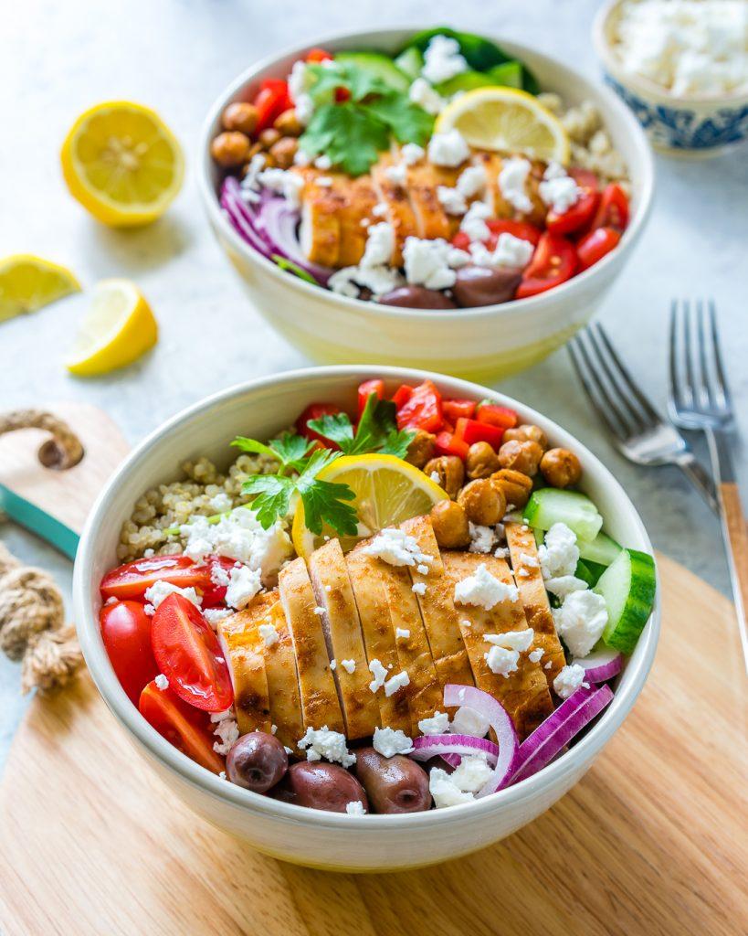 Mediterranean Chicken Clean Salad Bowls