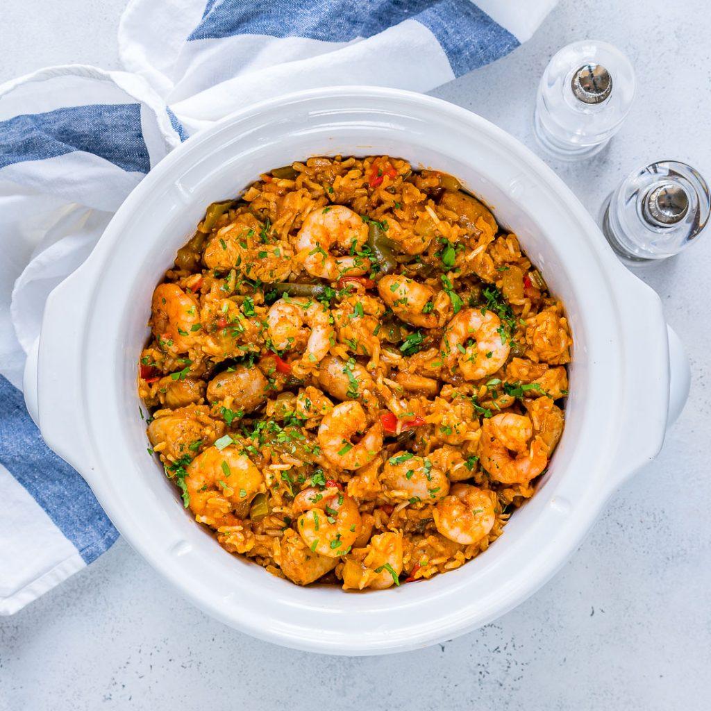 Healthy Shrimp Slow Cooked Jambalaya