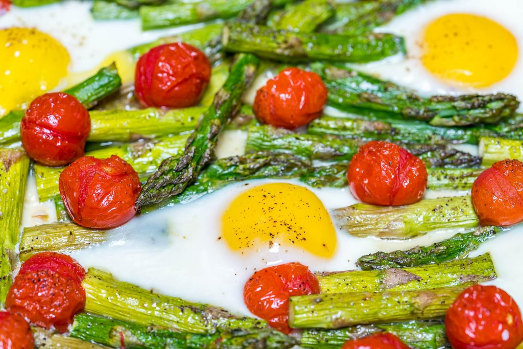 Breakfast Roasted Tomato Asparagus Egg Bake