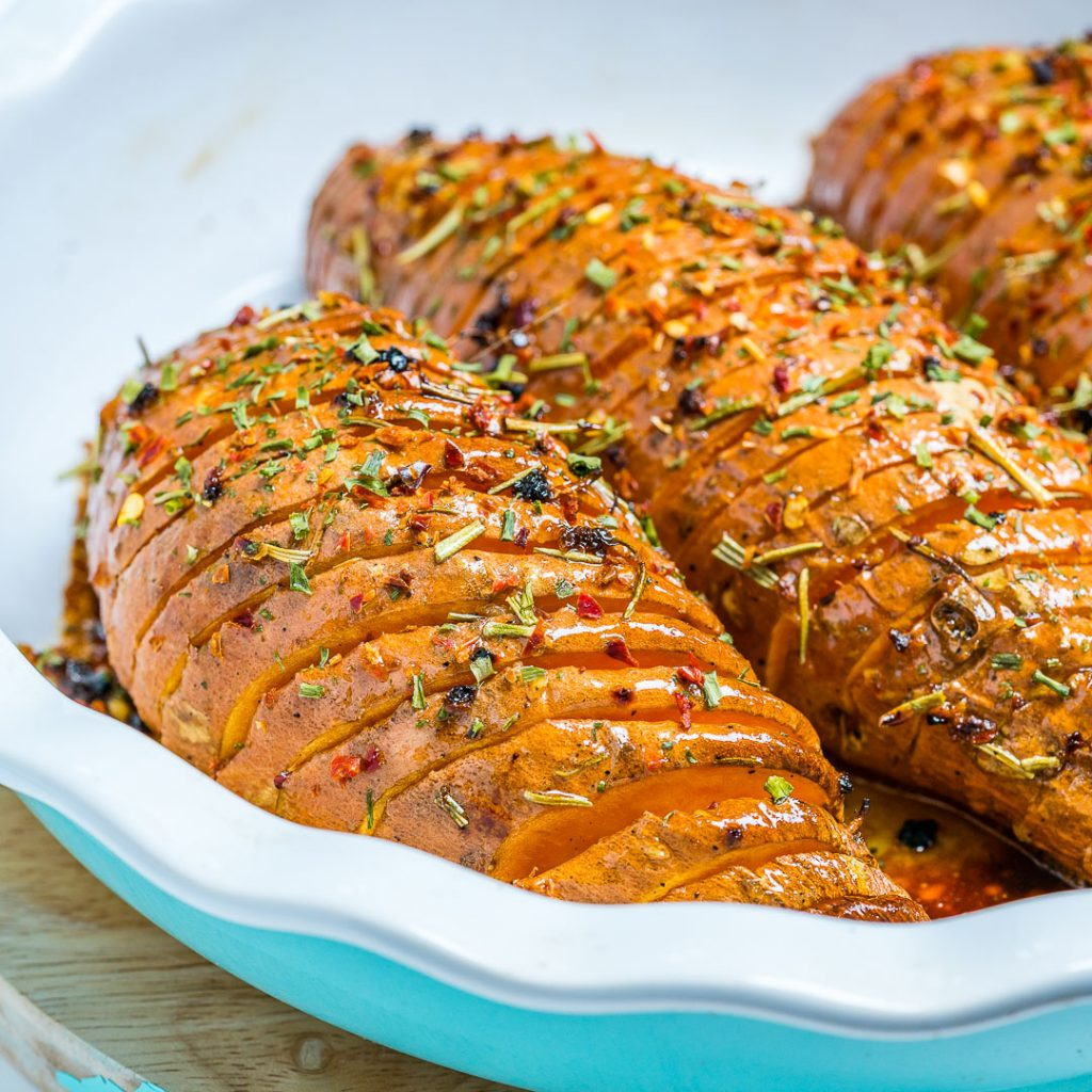 Clean Honey Garlic Hasselback Sweet Potatoes
