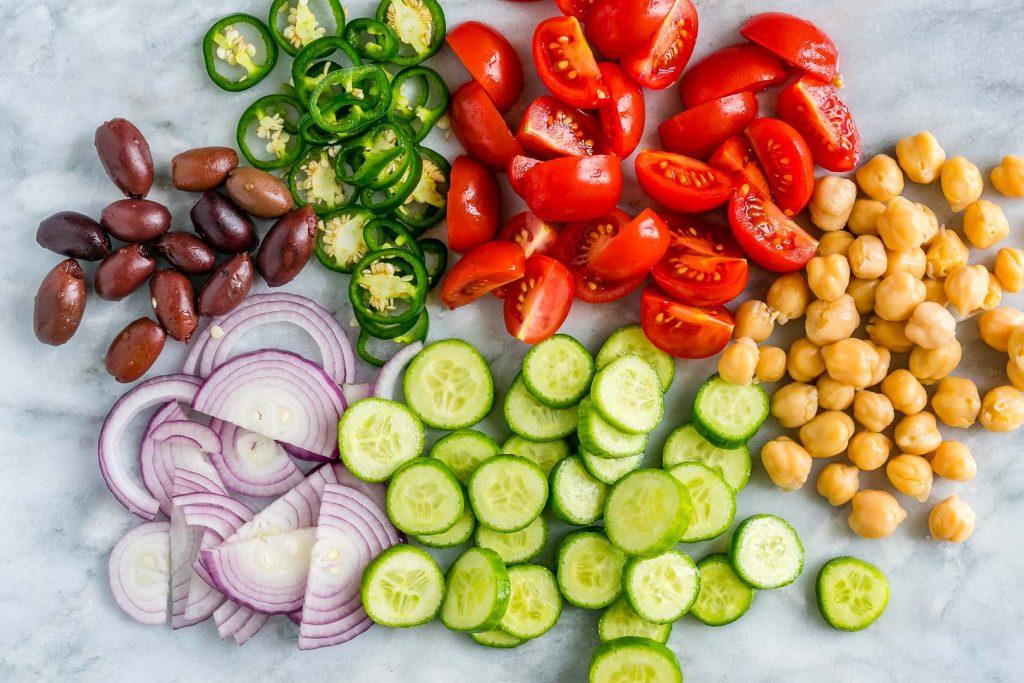 Clean Loaded Greek Chickpea Chopped Salad