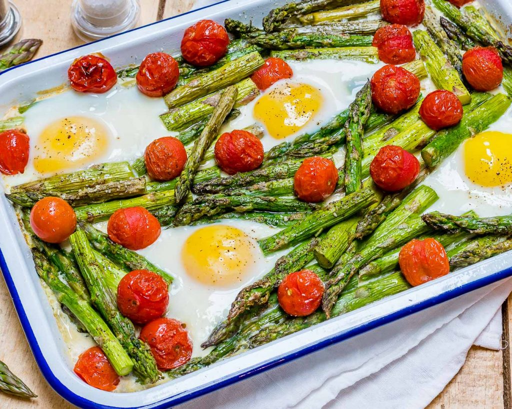 Clean Roasted Tomato Asparagus Egg Bake Recipe