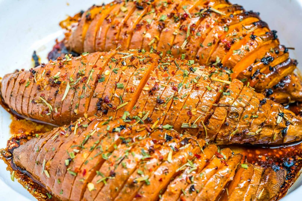 CleanFoodCrush Honey + Garlic Hasselback Sweet Potatoes