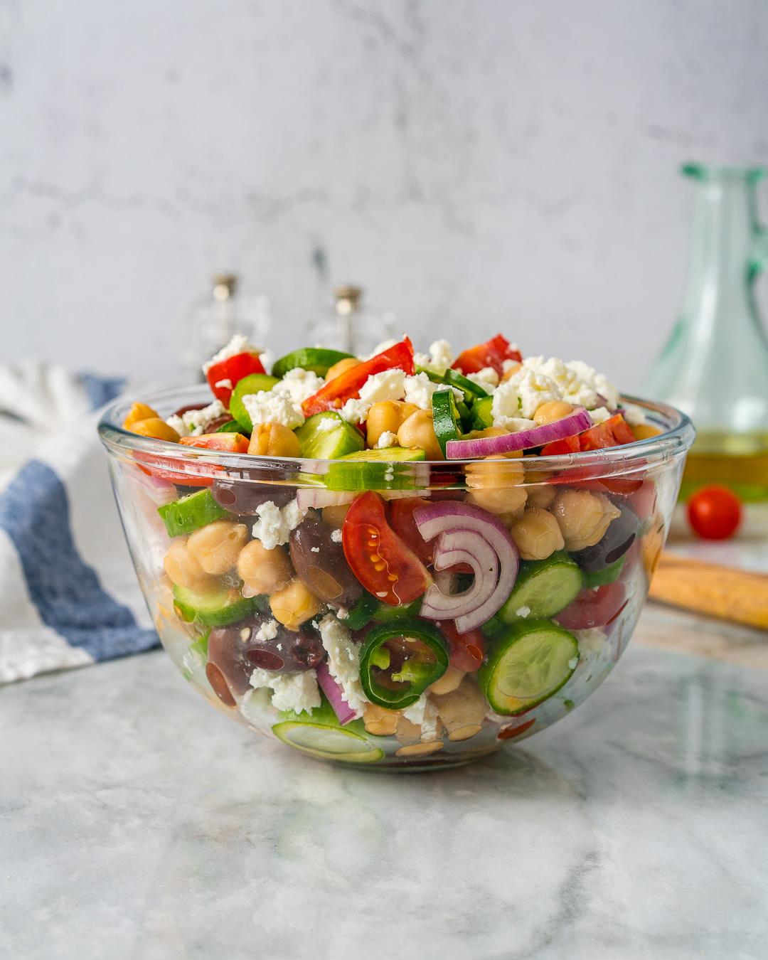 CleanFoodCrush Loaded Greek Chickpea Chopped Salad