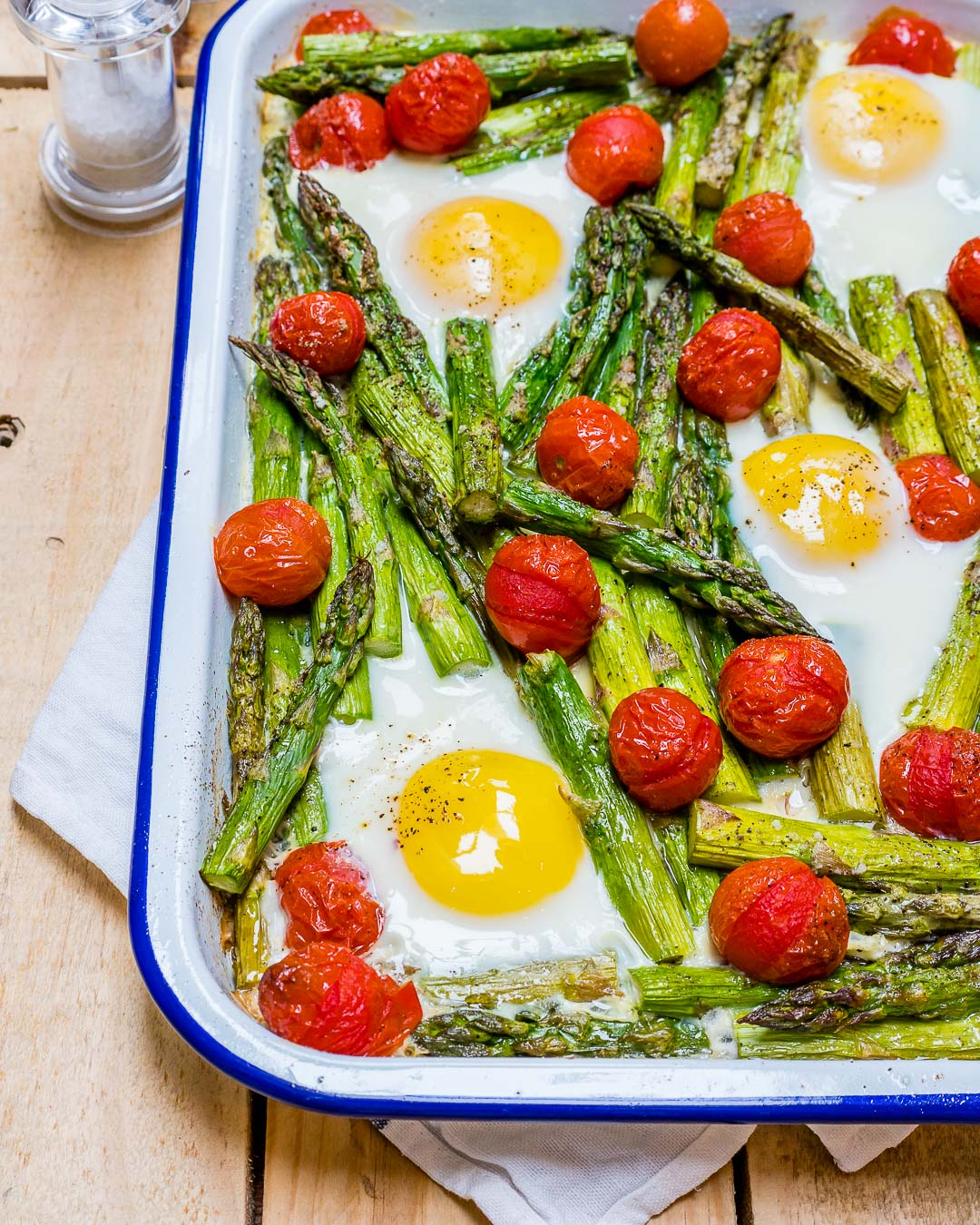 Roasted Tomato Asparagus Egg Bake