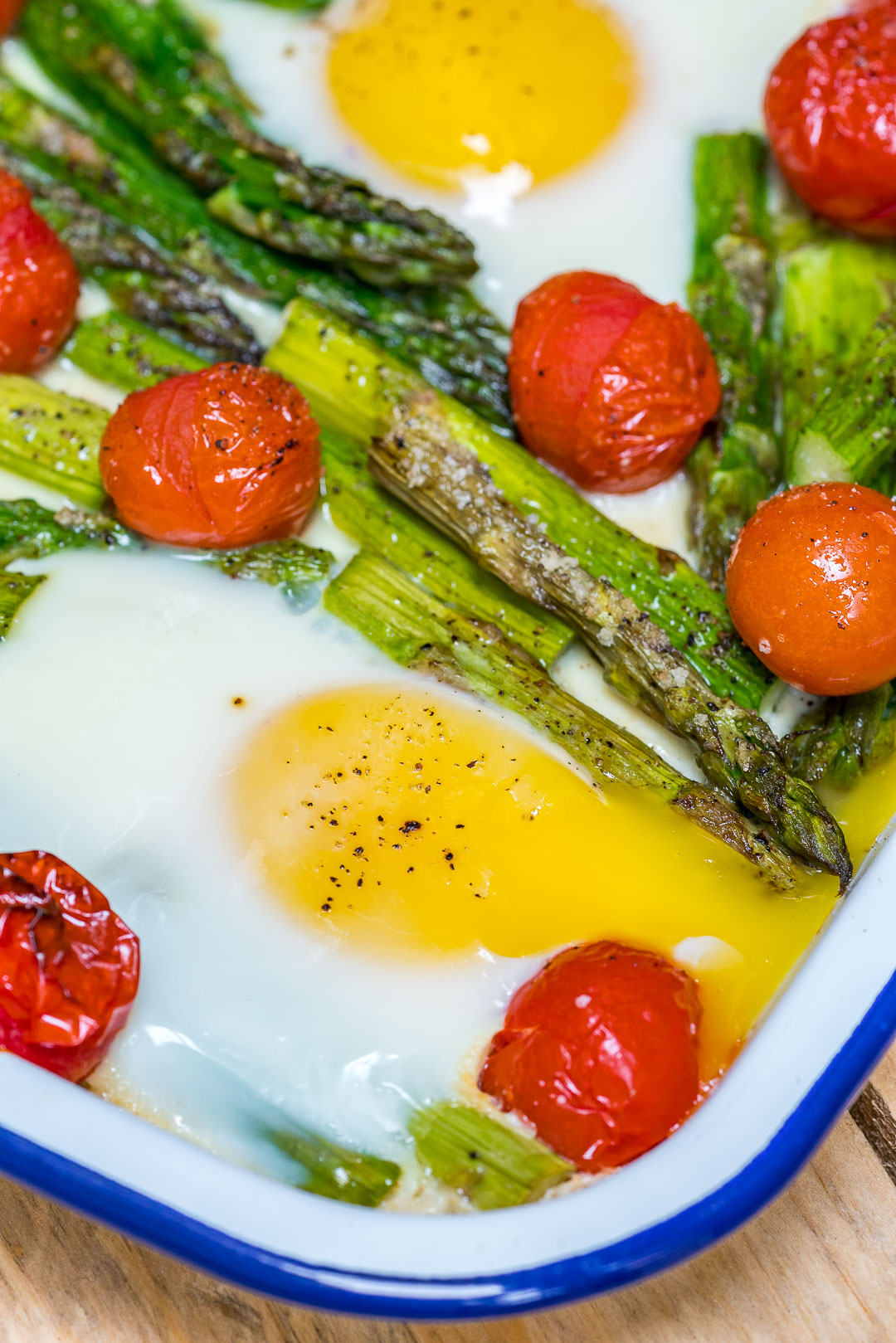 Eat Clean Roasted Tomato Asparagus Egg Bake