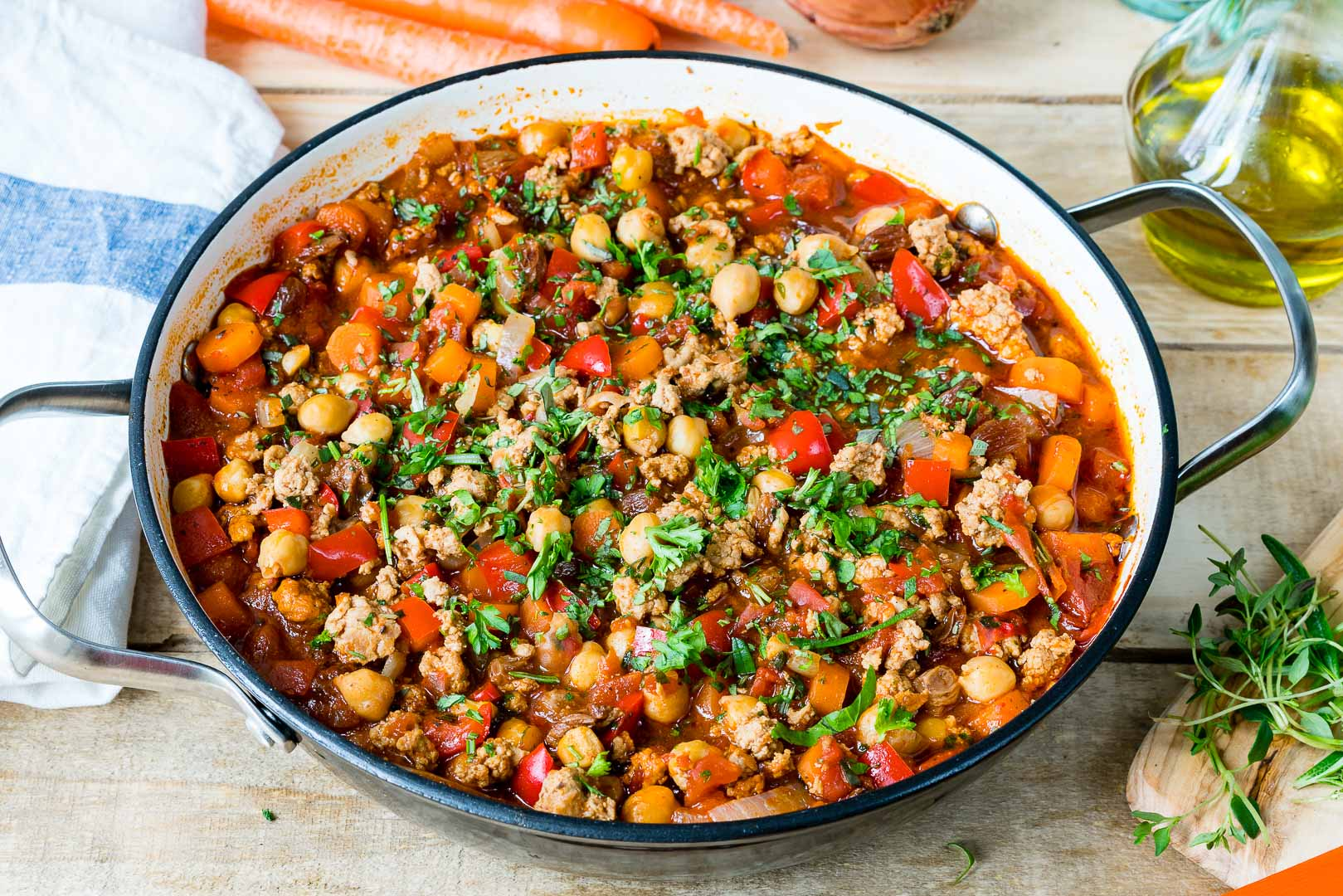 Eat Clean Savory Turkey + Chickpea Skillet