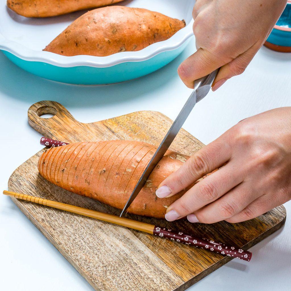 Honey Garlic Hasselback Sweet Potatoes Recipe
