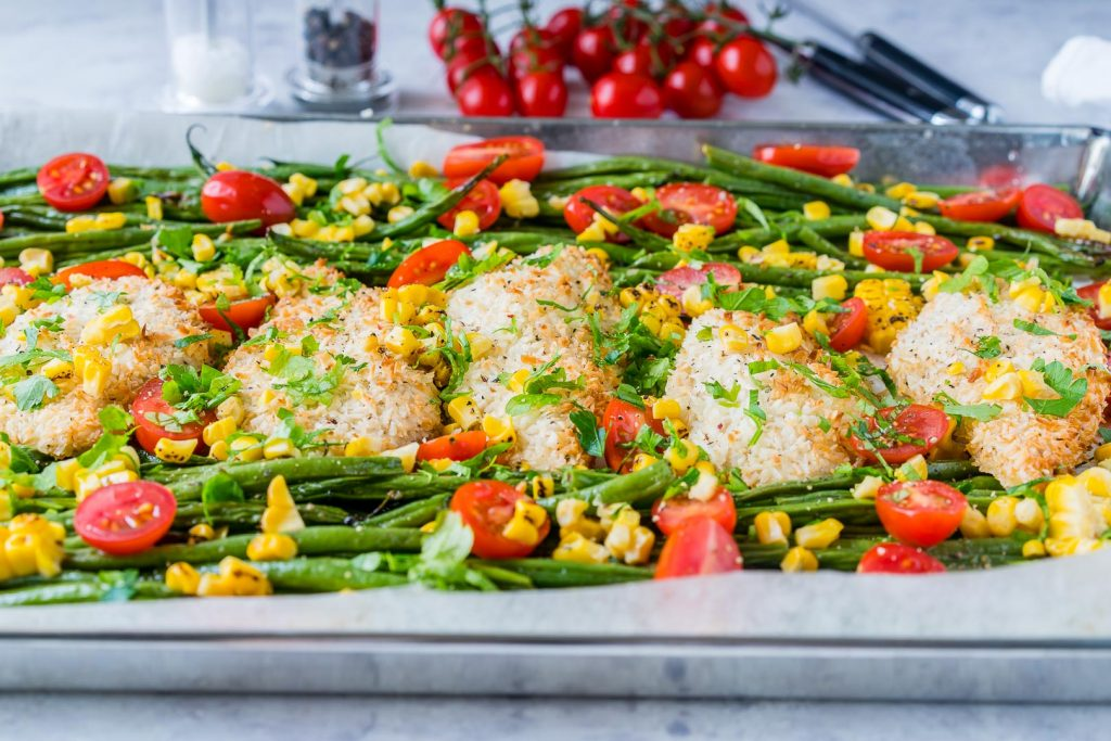 Clean Eating One Pan Crispy Chicken Garlic Veggies
