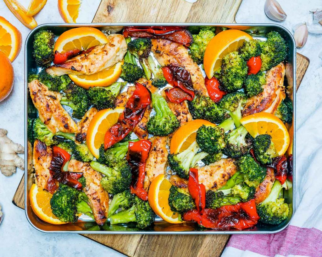Clean Eating Sheet Pan Orange + Ginger Chicken