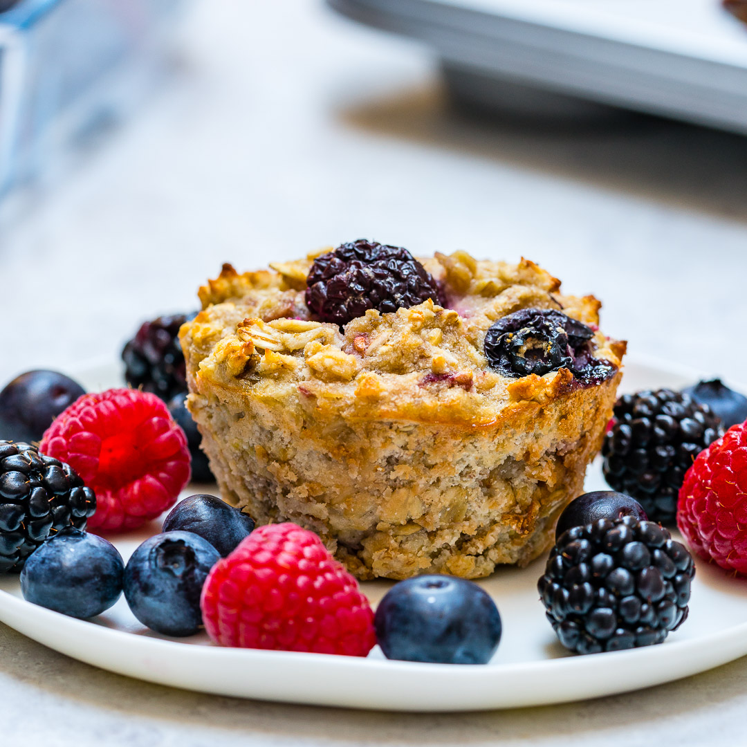 Clean Eating {new} Triple Berry Oatmeal Muffins