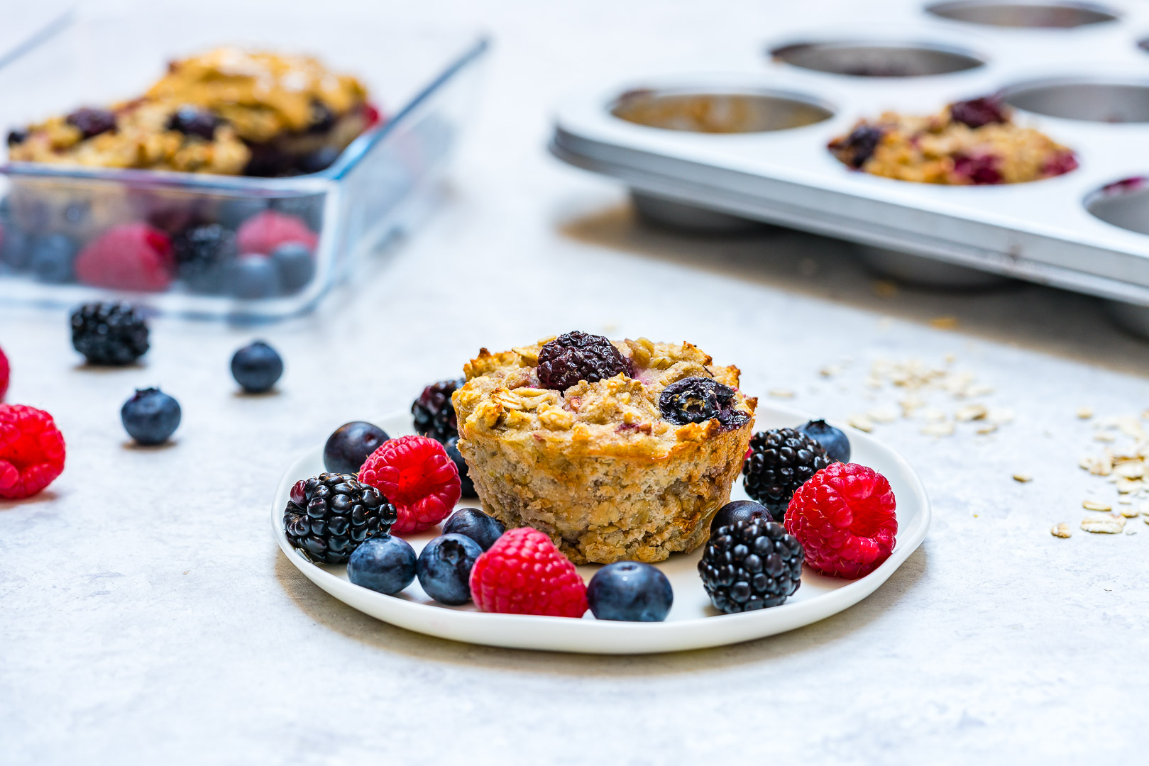 Triple Berry Oatmeal Muffins Recipe