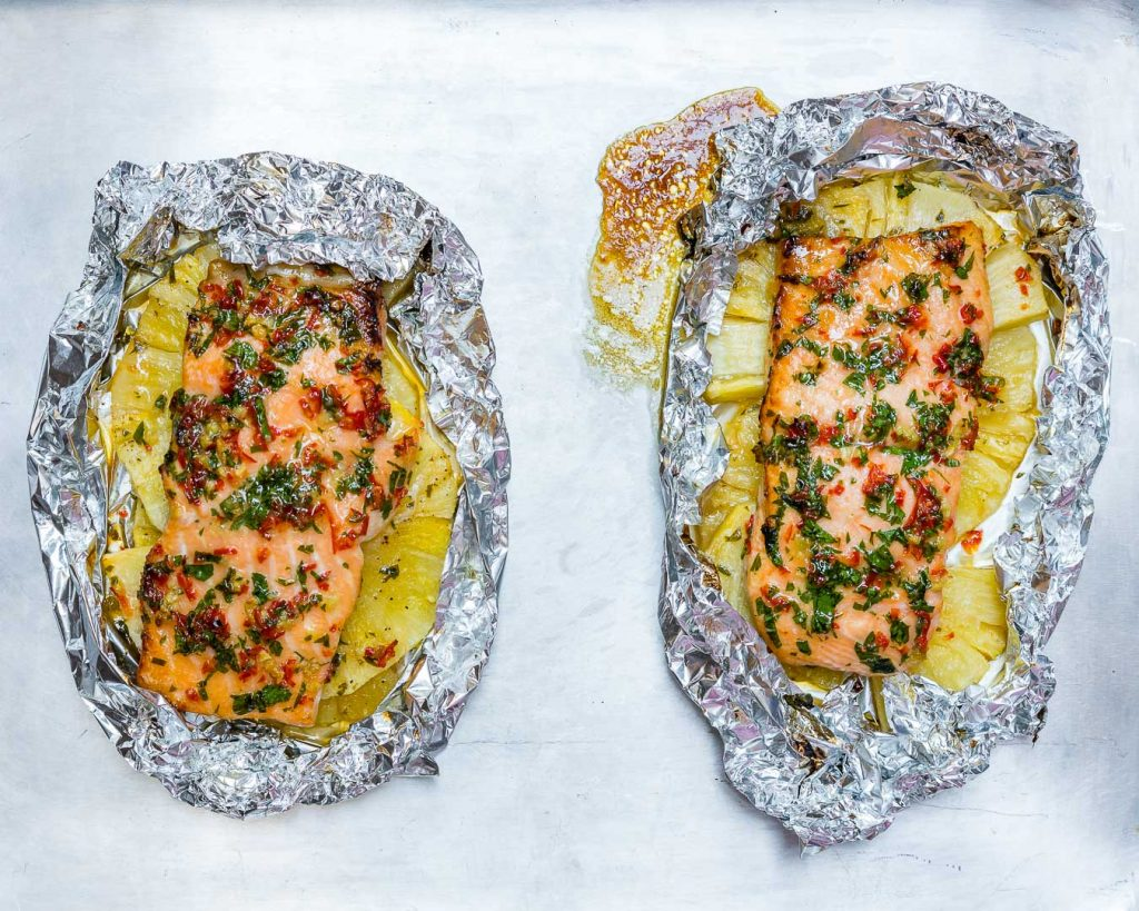 Eat Clean Garlic Butter Salmon Pineapple Packets