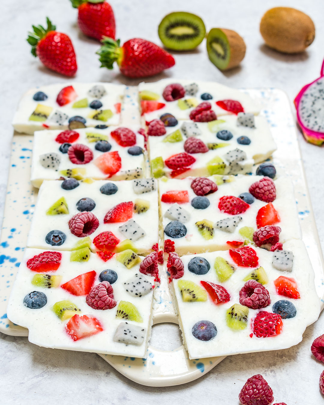 Frozen Yogurt Fruit Bark Snacks
