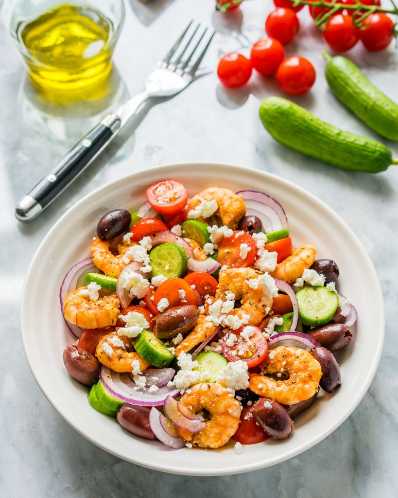 Greek Shrimp Salad Lunch Idea