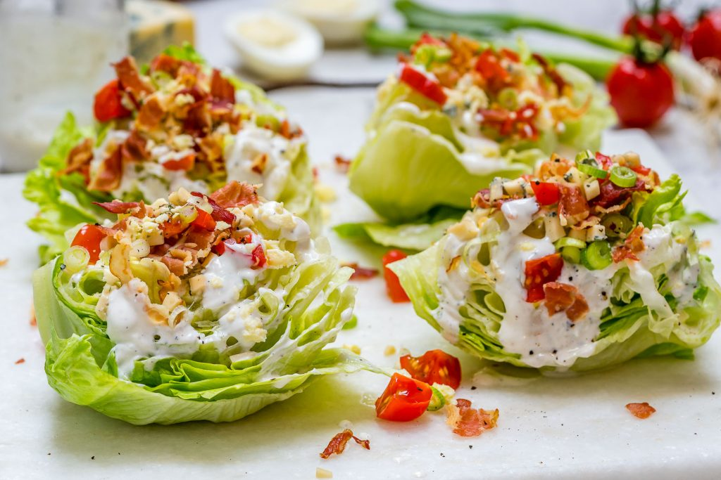 Eat Clean Loaded Iceberg Wedge Salad + Skinny Blue Cheese Dressing