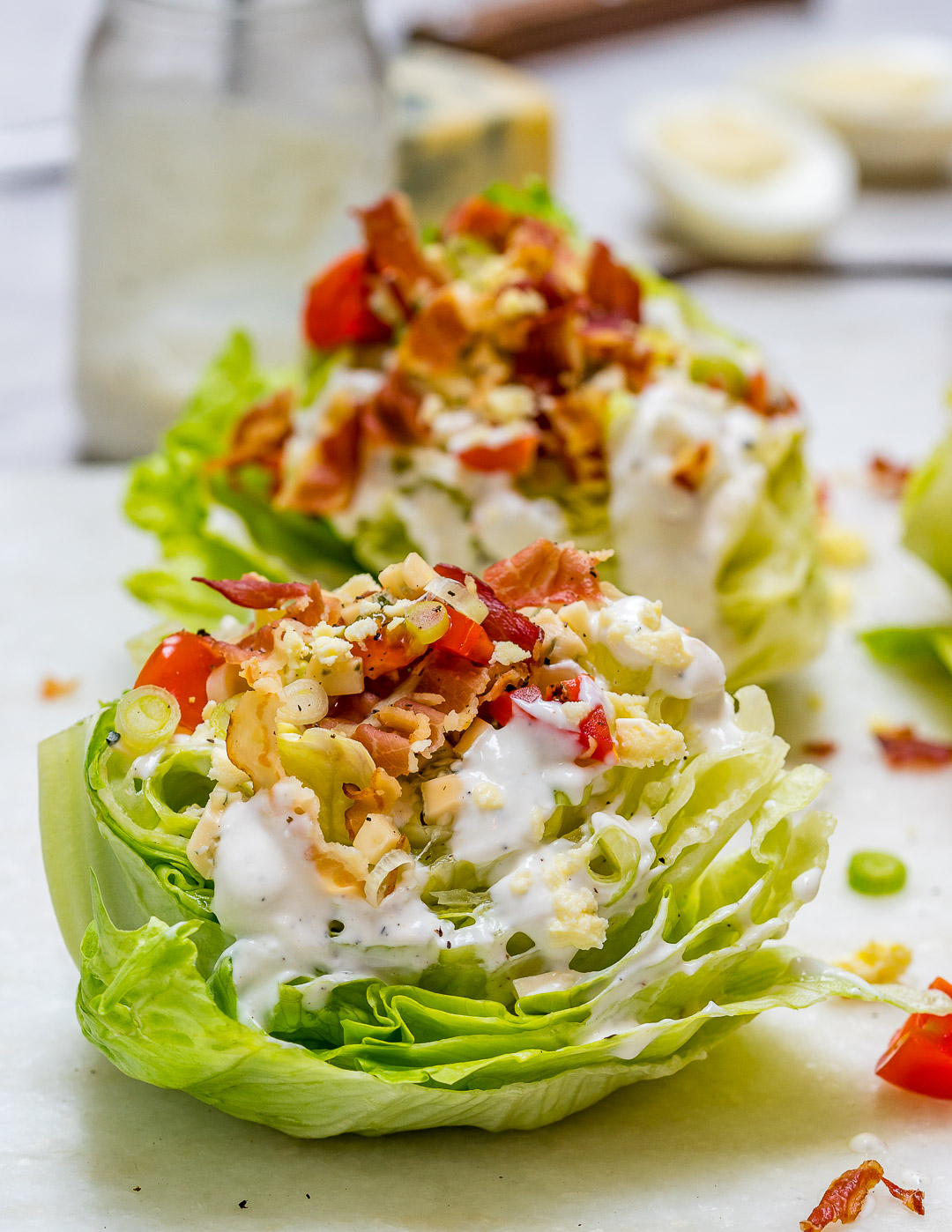 Loaded Iceberg Wedge Salad with Bluecheese Dressing Clean Recipe