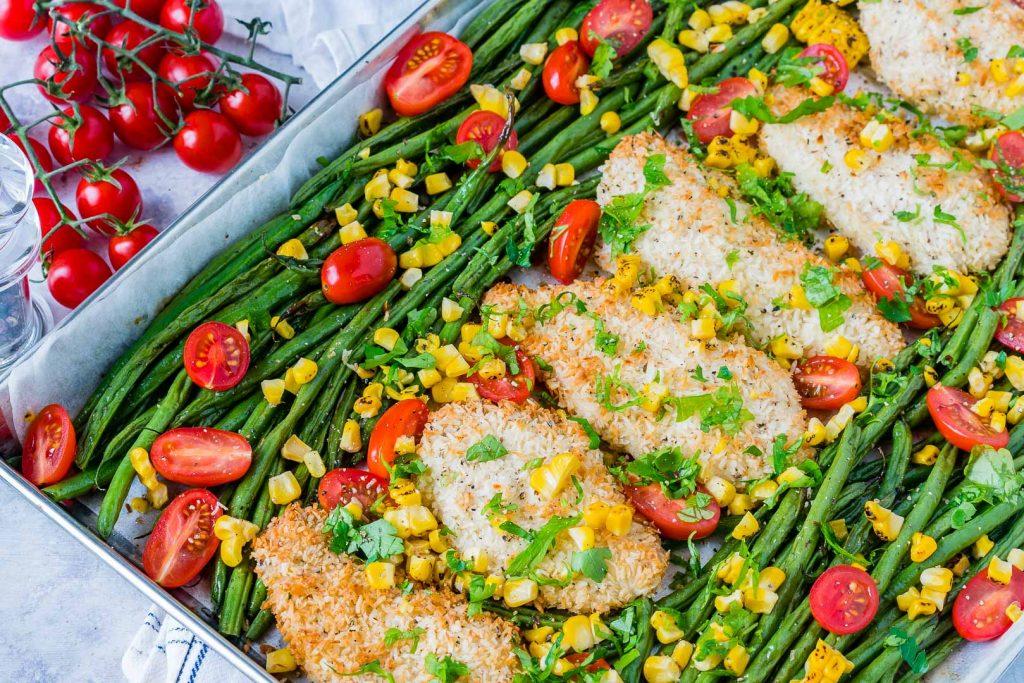 Healthy Crispy Chicken Garlic Veggies