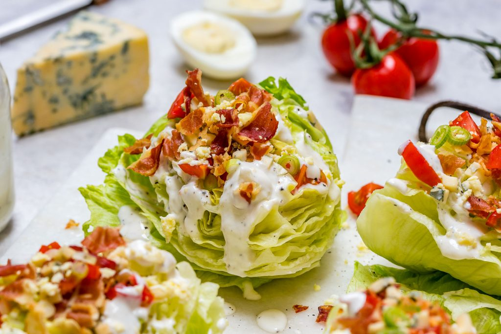 Loaded Iceberg Wedge Salad with Skinny Blue Cheese Dressing