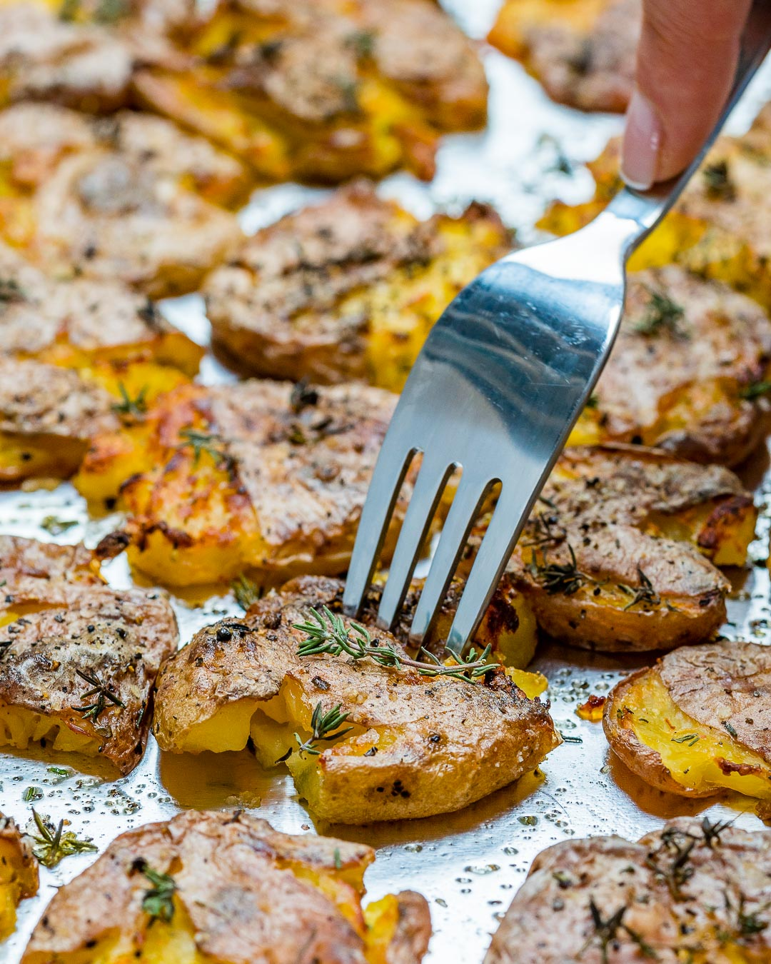Clean Eating Crispy Smashed Herb Roasted Potatoes