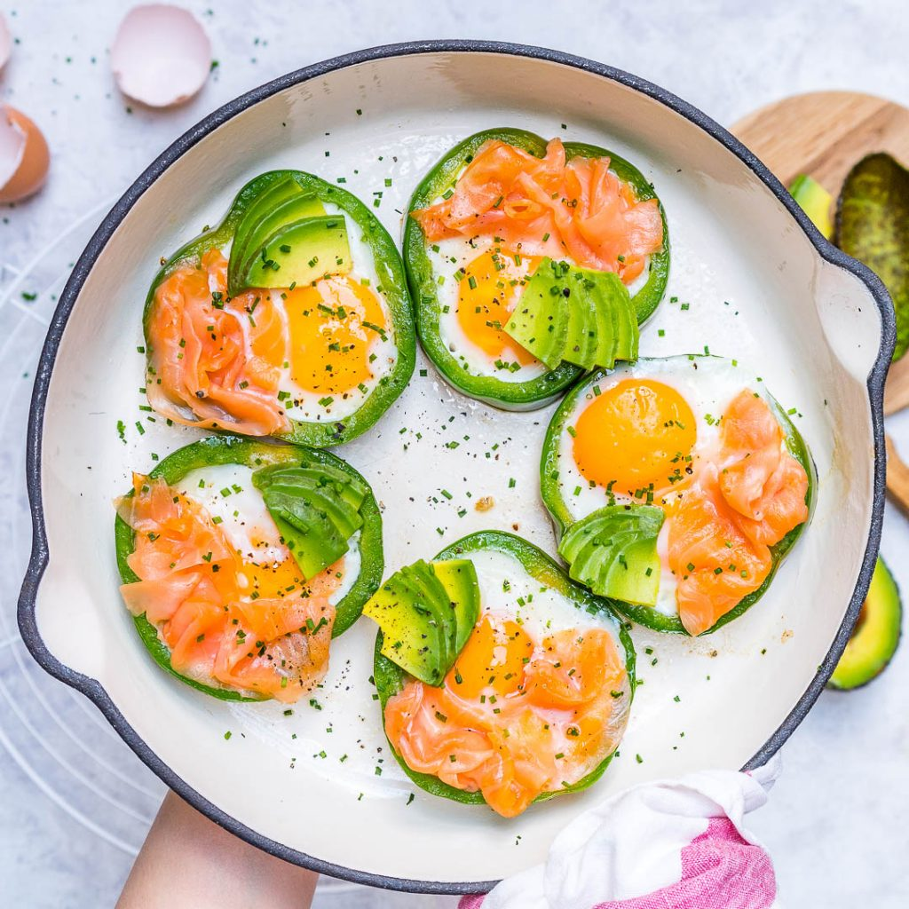 Protein Enriched Eggs Smoked Salmon in Green Rings