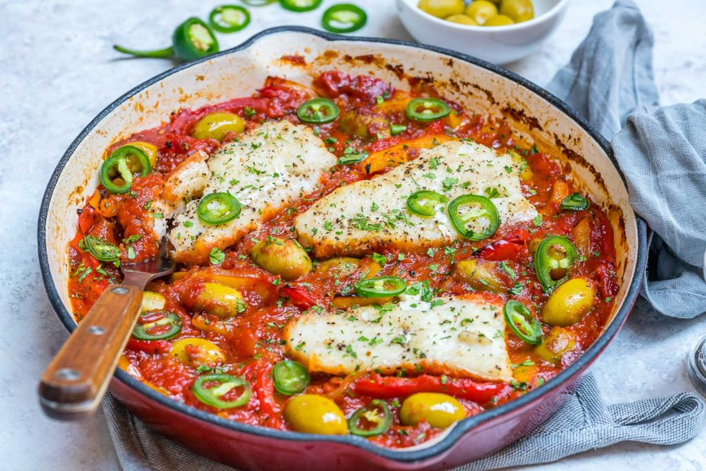 Clean Baked Cod in Tomatoes and Olives