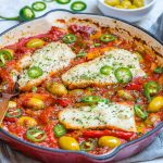 Baked Cod in Tomatoes & Olives for Clean Eating