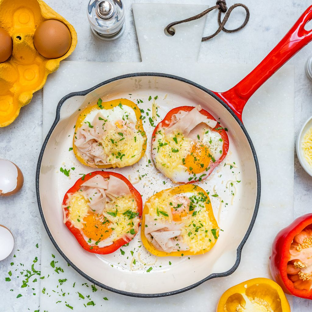 Breakfast Ham Egg Pepper Rings Recipe