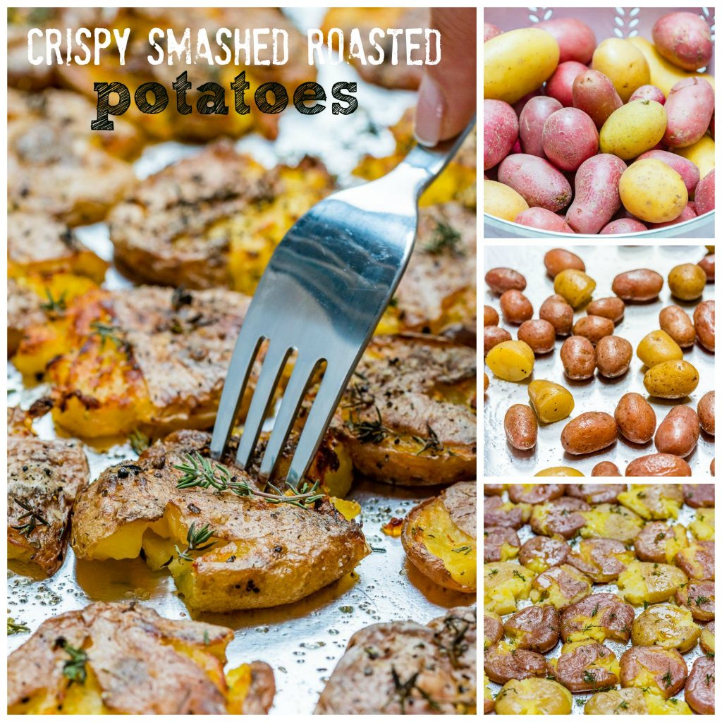 Oven Crispy Smashed Herb Roasted Potatoes