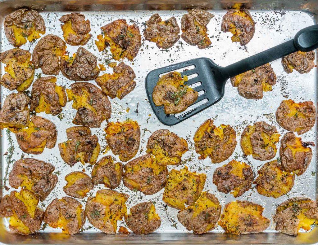 Crispy Smashed Herb Roasted Potatoes Recipe