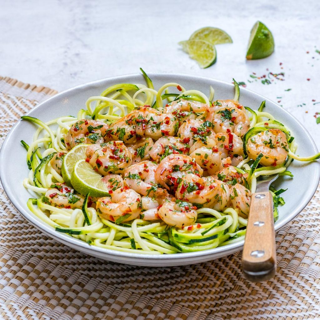 Eat Clean Chili Garlic Shrimp Zoodles