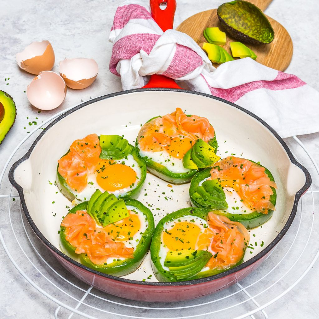 Breakfast Eggs Smoked Salmon in Green Rings Recipe