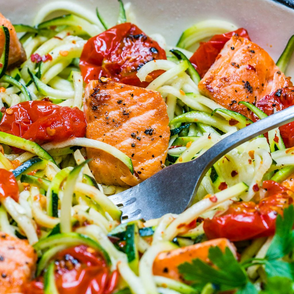Garlic Butter Salmon Zoodles Clean Eats