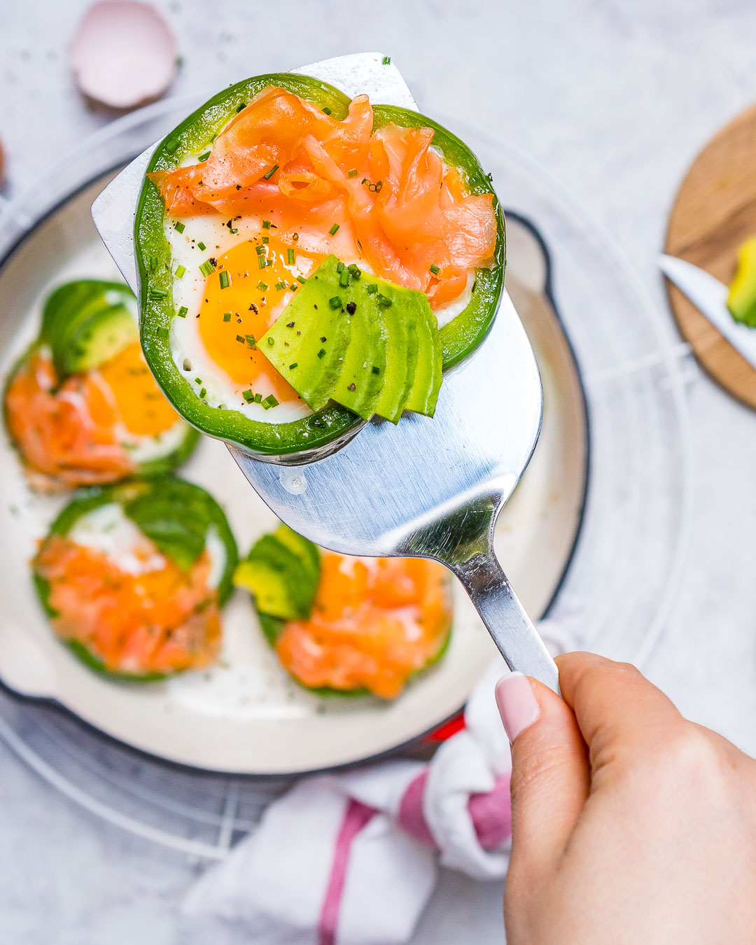 Healthy Eggs Smoked Salmon in Green Rings