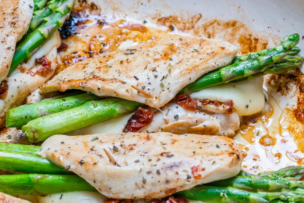 Asparagus Sun-dried Tomato Stuffed Chicken Skillet