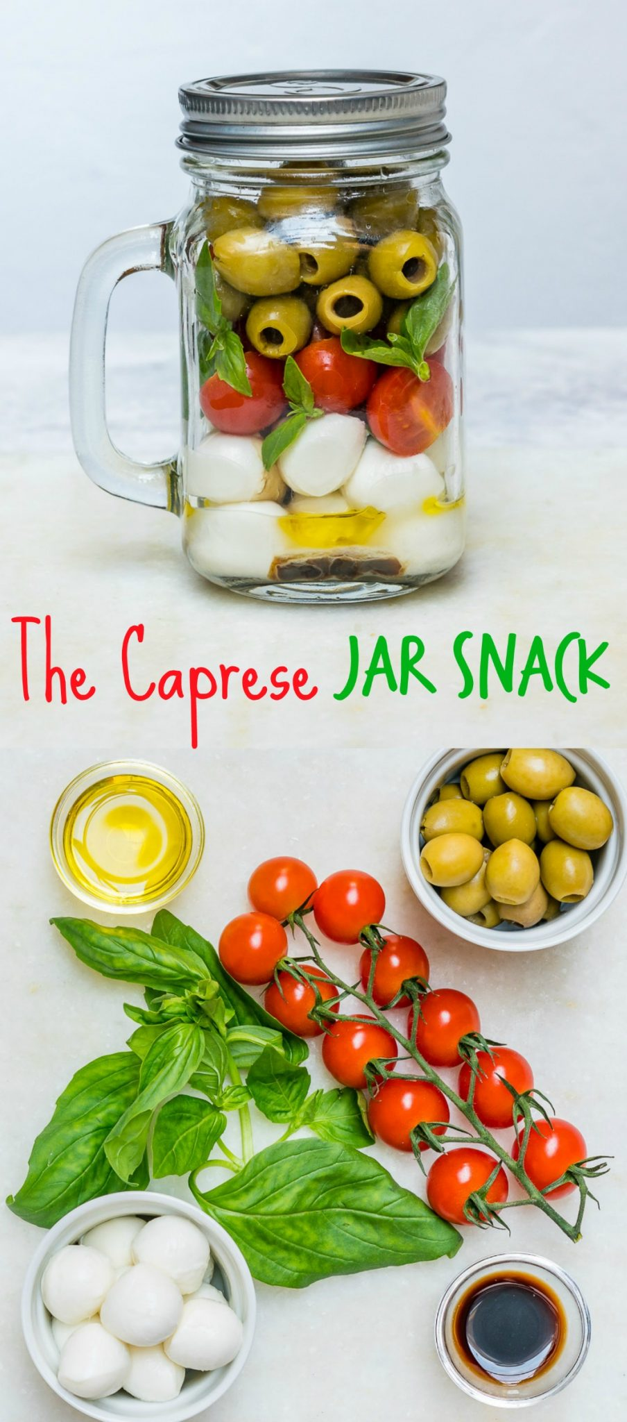 Caprese Olive Snack time Jar