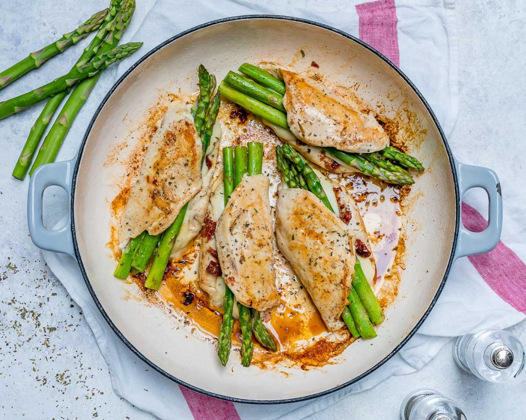 Clean Asparagus Sun-dried Tomato Stuffed Chicken Skillet