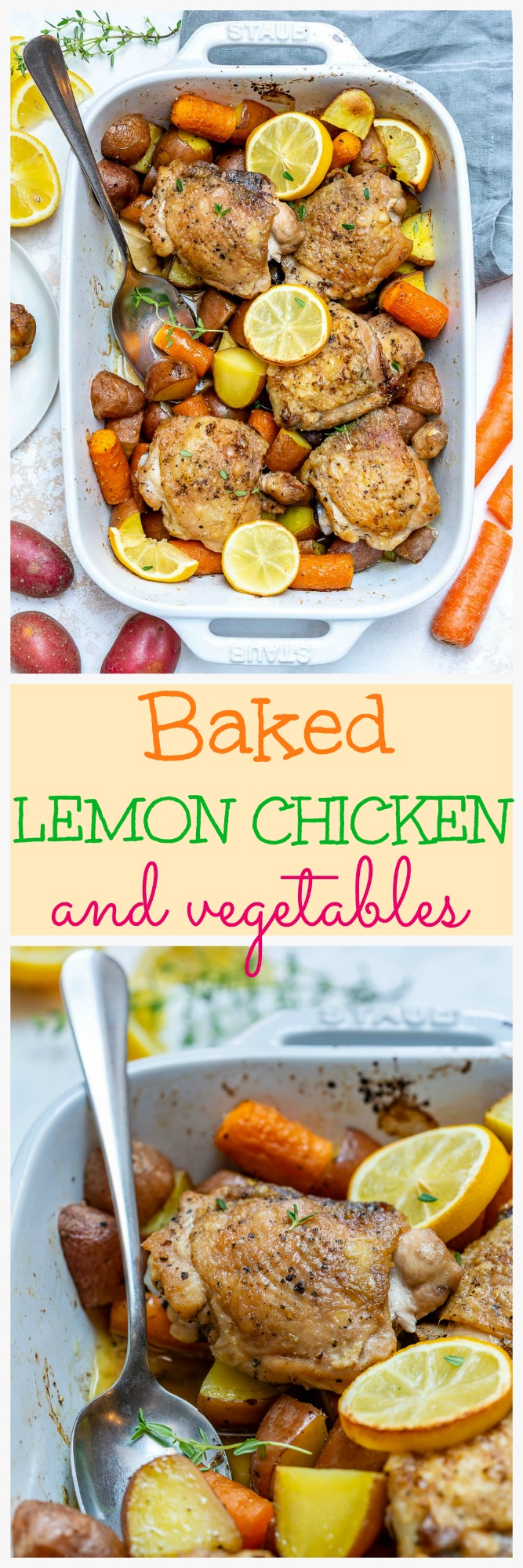 Baked Lemon Chicken and Veggies Food Prep Dinner