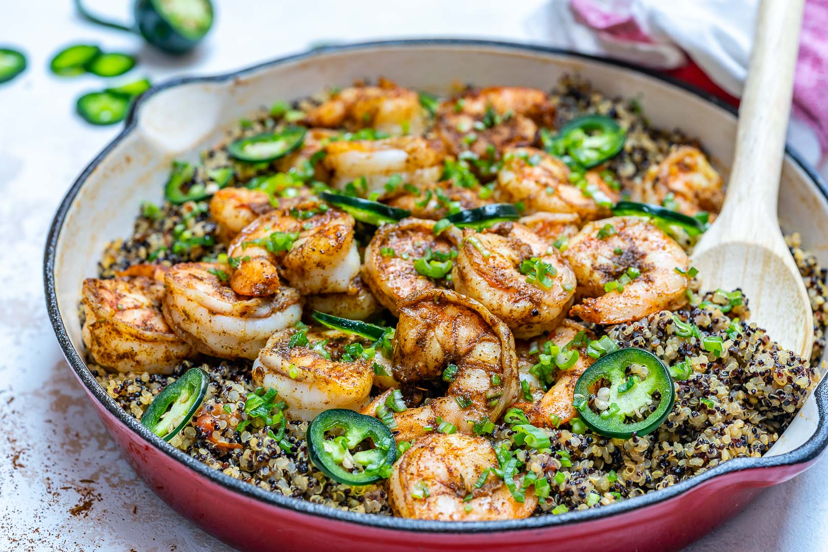 Clean Eating Spicy Cajun Shrimp Quinoa Skillet Recipes