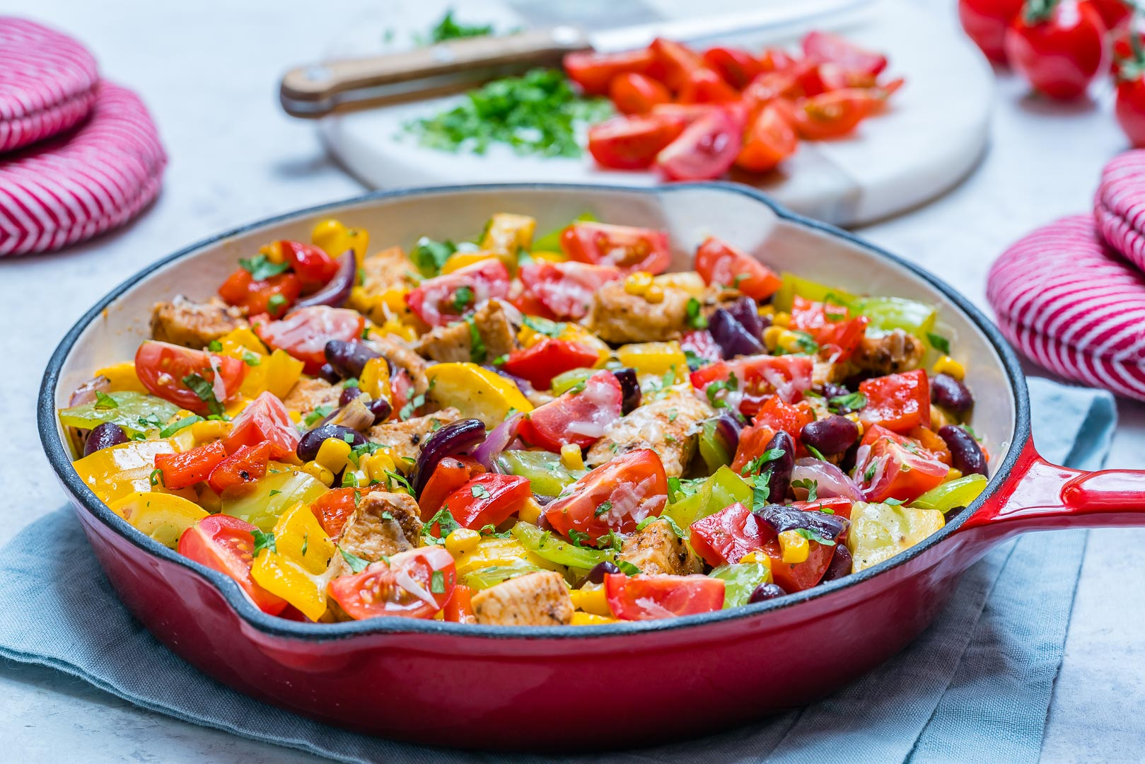 Clean Eating Tex Mex Zucchini & Chicken Skillet