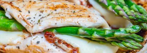 Clean Eats Asparagus & Sun-dried Tomato Stuffed Chicken Skillet