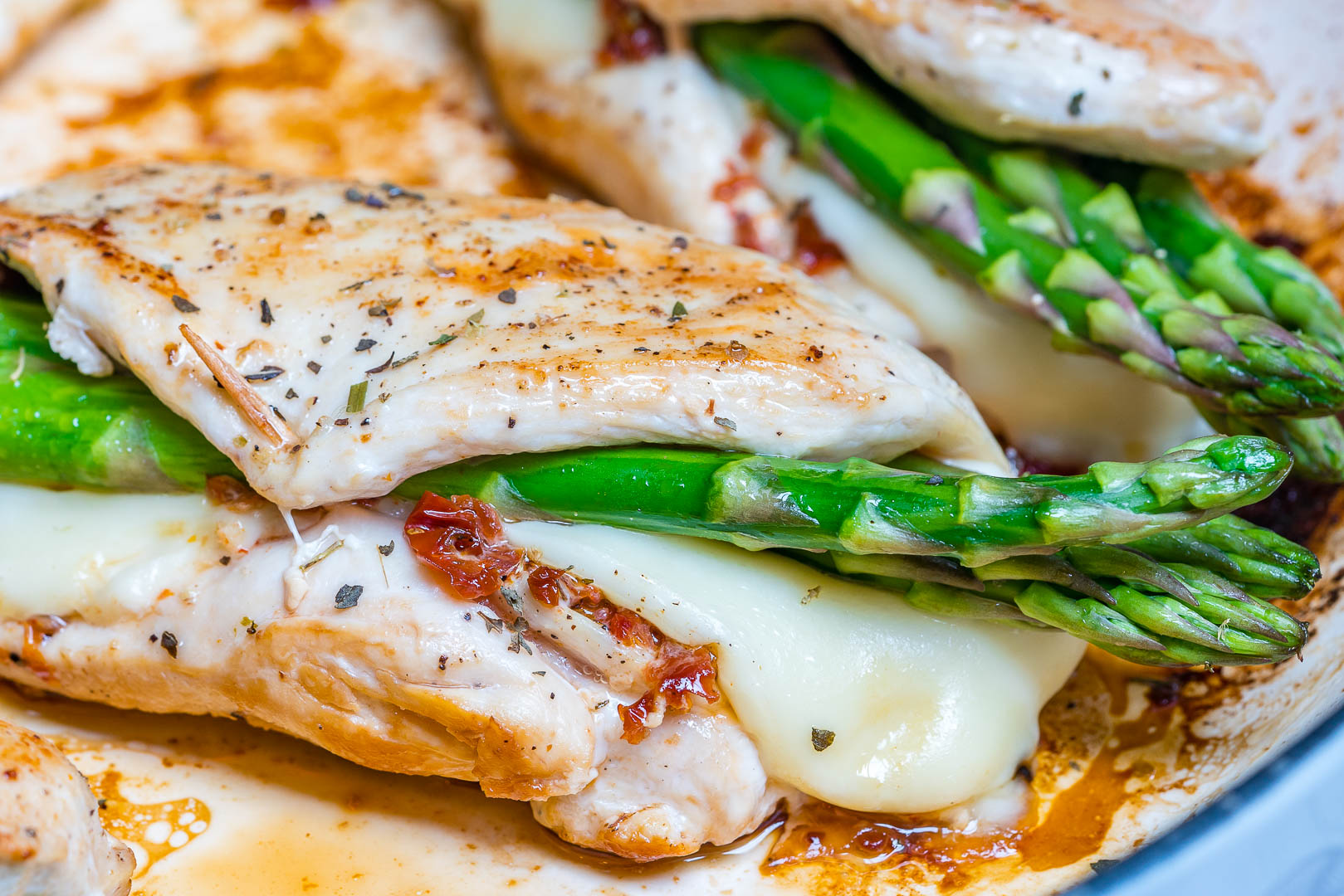 Clean Eats Asparagus & Sun-dried Tomato Stuffed Chicken Skillet