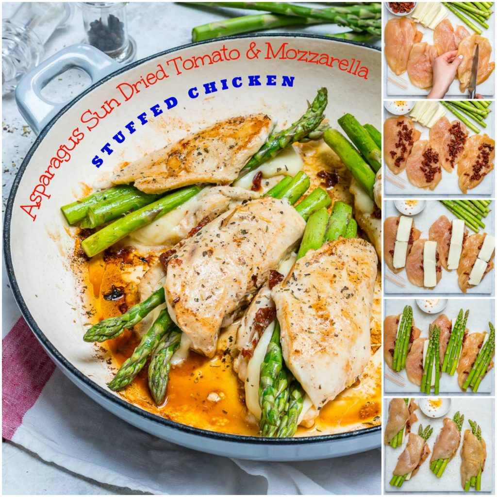 Asparagus Tomato Stuffed Chicken Skillet Dinner