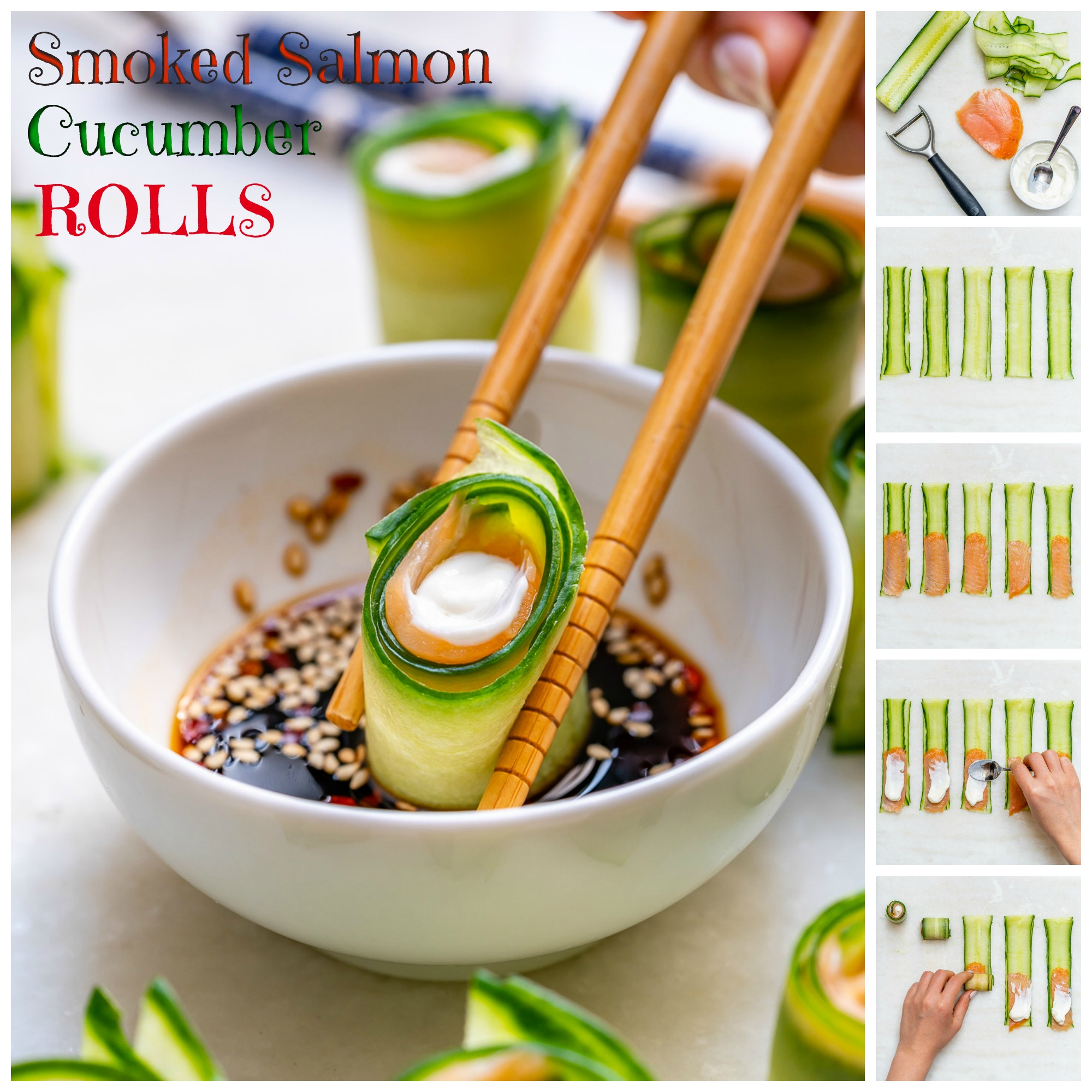 Clean Food Snacks Smoked Salmon Cucumber Rolls